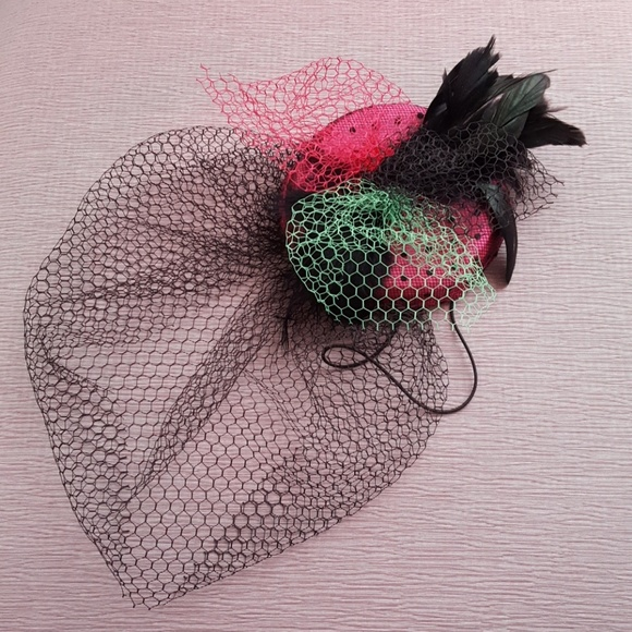 5202708ef41 Divided Accessories - Polka Dot Pillbox Fascinator w Feathers and Veil